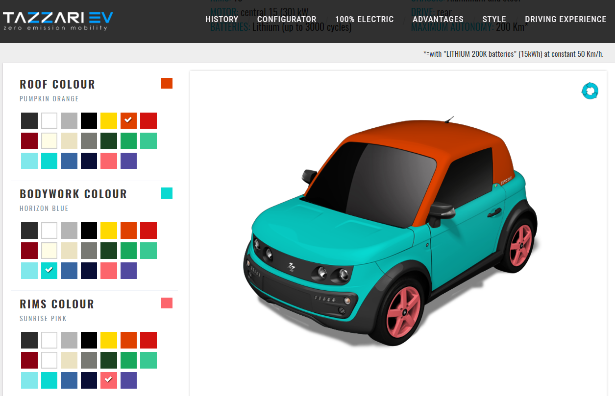 tazzari car configurator