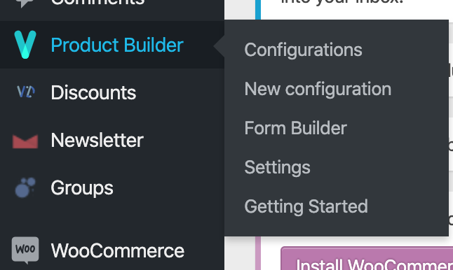 Product Builder Menu view