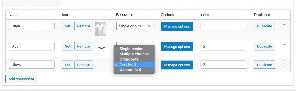Textfield Behaviour selection