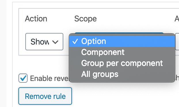 The Scope list for the conditional rule