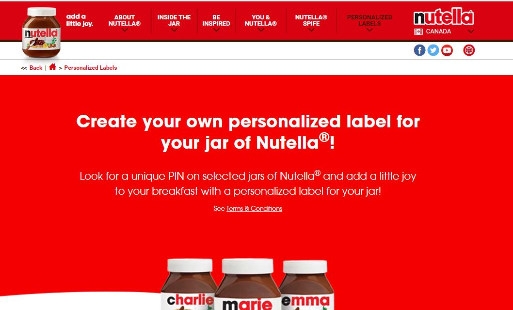 Nutella product customization